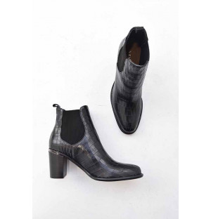 Bottines fanny croco noir...