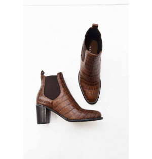 Bottines fanny croco tabaco...
